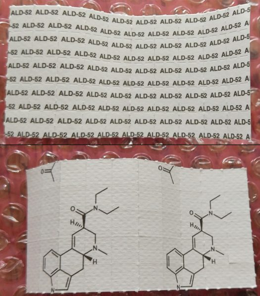 25 x 100ug ALD-52 / 1A-LSD Blotters 1